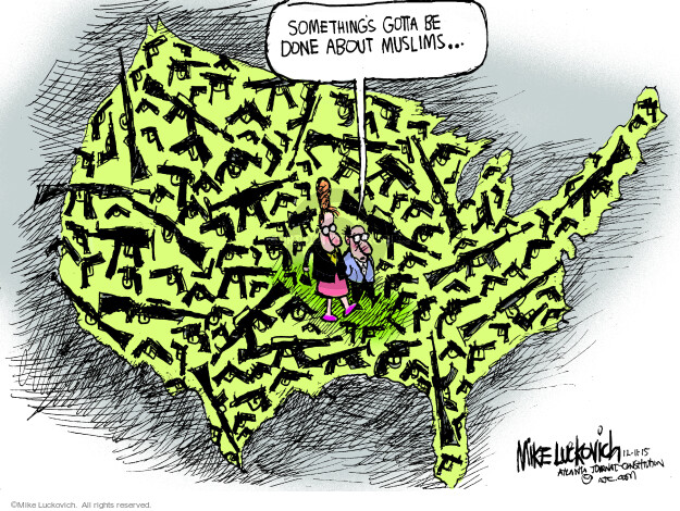 Cartoonist Mike Luckovich  Mike Luckovich's Editorial Cartoons 2015-12-11 weaponry