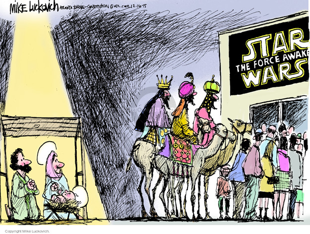 Cartoonist Mike Luckovich  Mike Luckovich's Editorial Cartoons 2015-12-16 attention