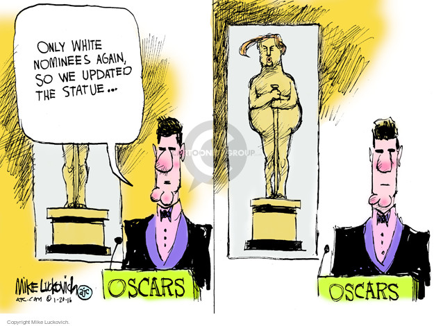 Only white nominees again, so we updated the statue … Oscars.