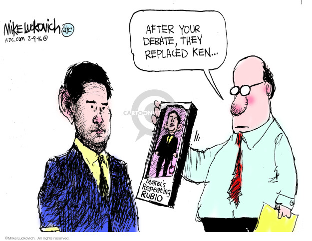 Cartoonist Mike Luckovich  Mike Luckovich's Editorial Cartoons 2016-02-09 election