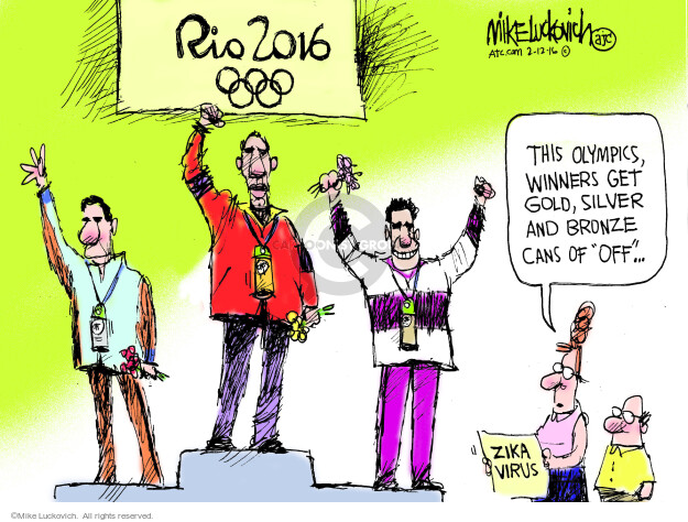Mike Luckovich  Mike Luckovich's Editorial Cartoons 2016-02-12 summer Olympics