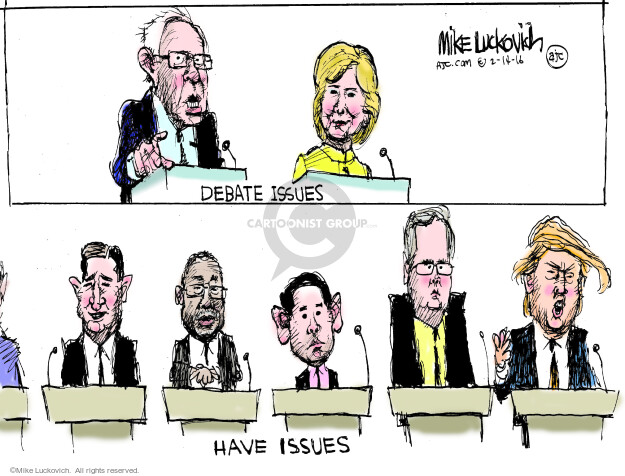 Cartoonist Mike Luckovich  Mike Luckovich's Editorial Cartoons 2016-02-14 Hillary Clinton