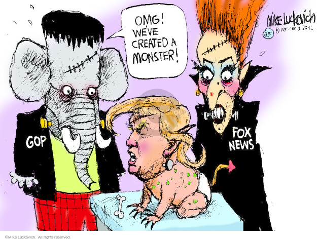 Mike Luckovich  Mike Luckovich's Editorial Cartoons 2016-02-25 Donald Trump Fox News