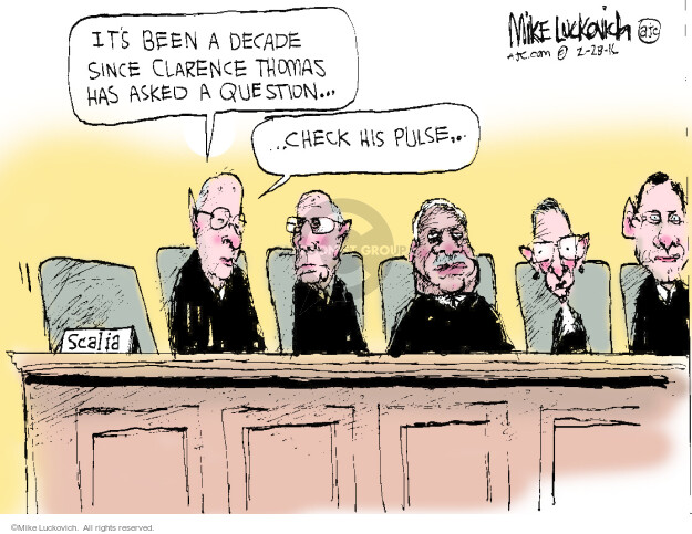 Cartoonist Mike Luckovich  Mike Luckovich's Editorial Cartoons 2016-02-28 Supreme Court