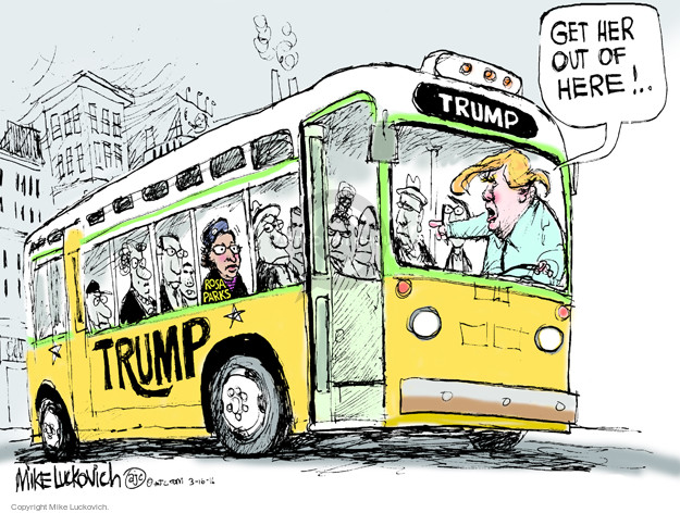 Get her out of here! … Trump. Rosa Parks.