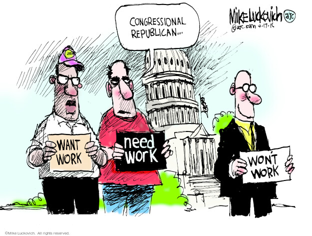 Cartoonist Mike Luckovich  Mike Luckovich's Editorial Cartoons 2016-04-17 unemployment