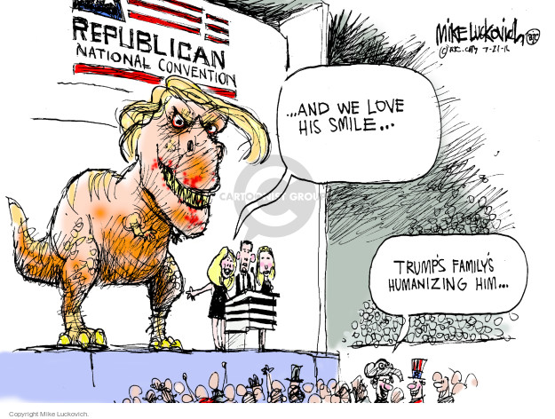 Cartoonist Mike Luckovich  Mike Luckovich's Editorial Cartoons 2016-07-21 distract