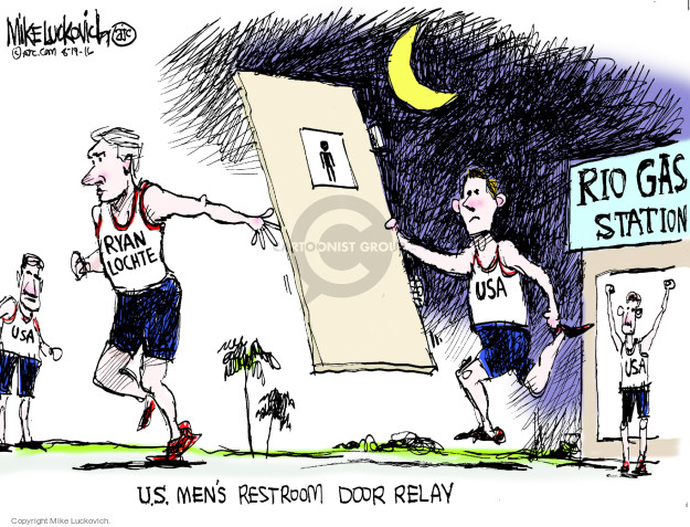 Rio gas station. Ryan Lochte. USA. U.S. mens restroom door relay.