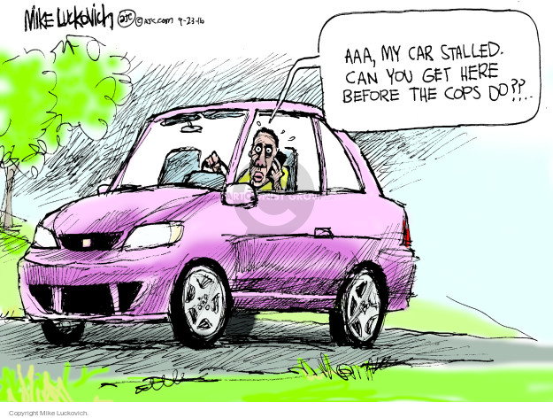 Cartoonist Mike Luckovich  Mike Luckovich's Editorial Cartoons 2016-09-23 law enforcement
