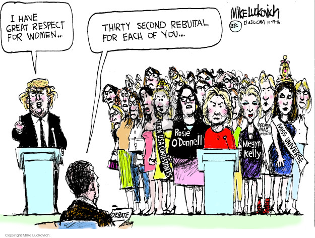 Cartoonist Mike Luckovich  Mike Luckovich's Editorial Cartoons 2016-10-19 Hillary Clinton