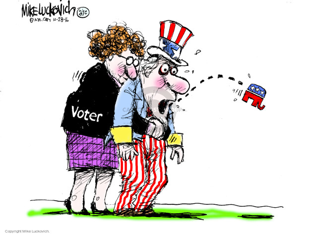 Cartoonist Mike Luckovich  Mike Luckovich's Editorial Cartoons 2016-10-28 state election