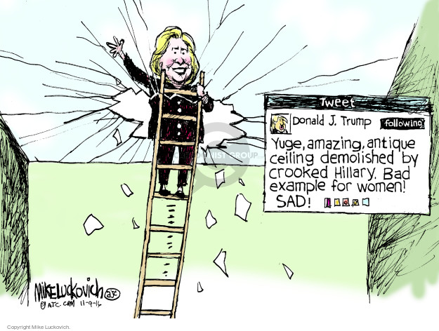 Cartoonist Mike Luckovich  Mike Luckovich's Editorial Cartoons 2016-11-09 Hillary Clinton