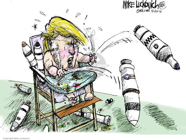 No caption (Donald Trump is presented as a crying baby in a high chair. He is playing with missiles).