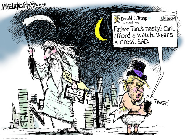 Mike Luckovich  Mike Luckovich's Editorial Cartoons 2016-12-30 Donald Trump Twitter