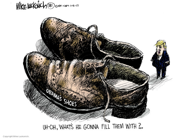 Obamas shoes. Uh-oh. Whats he gonna fill them with?