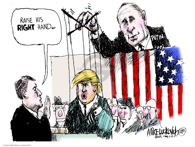 Cartoonist Mike Luckovich  Mike Luckovich's Editorial Cartoons 2017-01-15 2016 Election Russian Interference