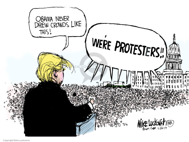 Cartoonist Mike Luckovich  Mike Luckovich's Editorial Cartoons 2017-01-22 crowd