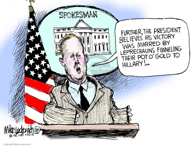 Cartoonist Mike Luckovich  Mike Luckovich's Editorial Cartoons 2017-01-25 Sean Spicer