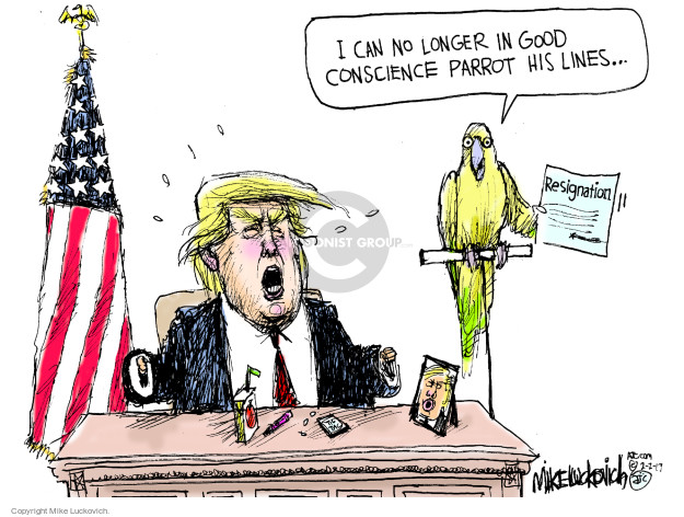 I can no longer in good conscience parrot his lines … Resignation.