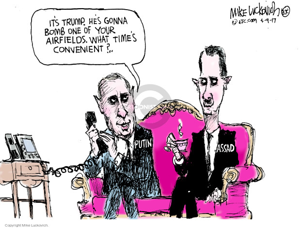Cartoonist Mike Luckovich  Mike Luckovich's Editorial Cartoons 2017-04-09 Syria chemical weapons