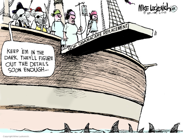 Cartoonist Mike Luckovich  Mike Luckovich's Editorial Cartoons 2017-06-16 affordable care act