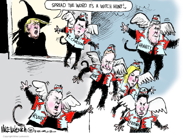 Cartoonist Mike Luckovich  Mike Luckovich's Editorial Cartoons 2017-12-29 hunt