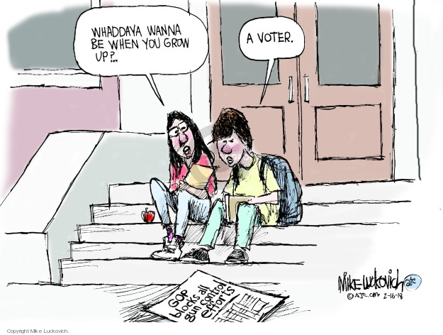 Cartoonist Mike Luckovich  Mike Luckovich's Editorial Cartoons 2018-02-18 legislation