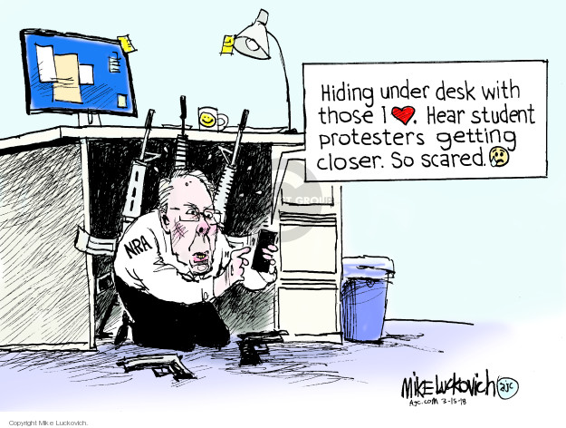 Cartoonist Mike Luckovich  Mike Luckovich's Editorial Cartoons 2018-03-15 gun rights