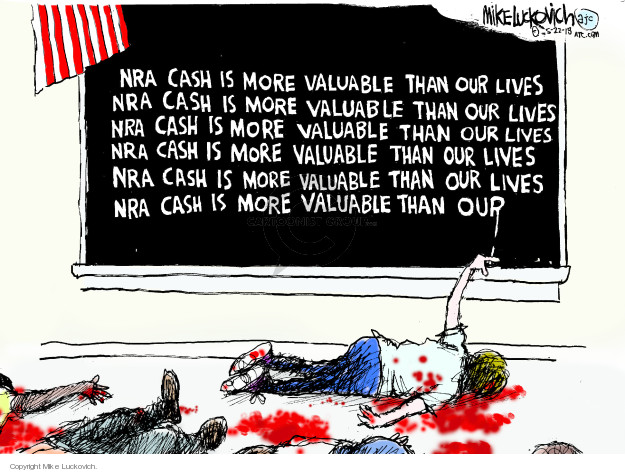 Cartoonist Mike Luckovich  Mike Luckovich's Editorial Cartoons 2018-05-22 gun