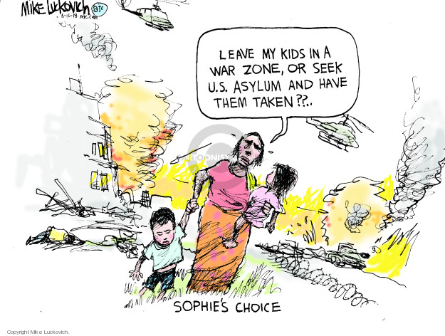 Leave my kids in a war zone, or seek U.S. asylum and have them taken?? Sophies Choice.