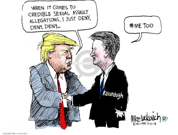 Cartoonist Mike Luckovich  Mike Luckovich's Editorial Cartoons 2018-09-20 accusation