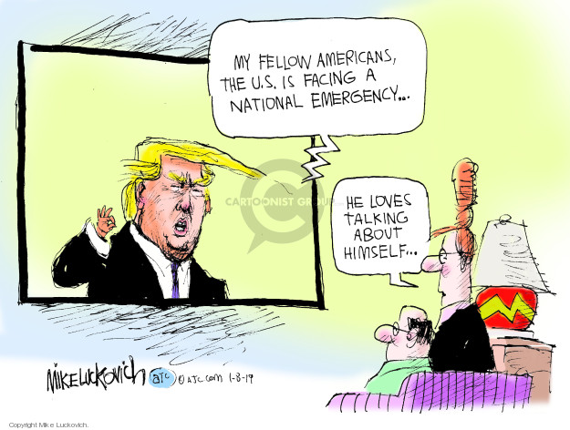 Cartoonist Mike Luckovich  Mike Luckovich's Editorial Cartoons 2019-01-08 wall