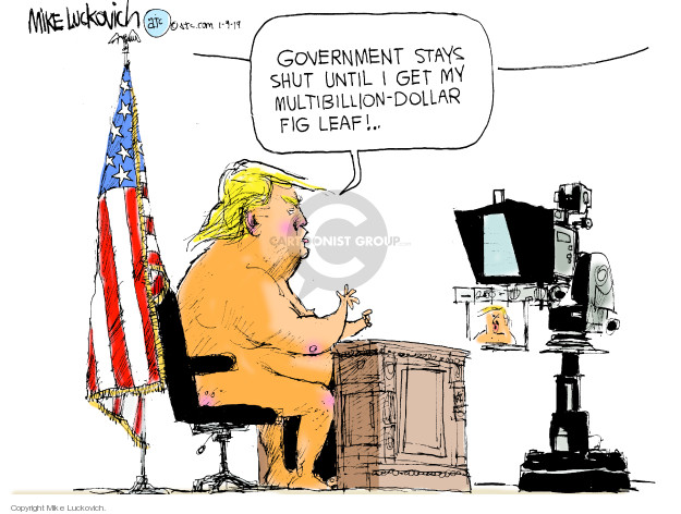 Cartoonist Mike Luckovich  Mike Luckovich's Editorial Cartoons 2019-01-09 wall