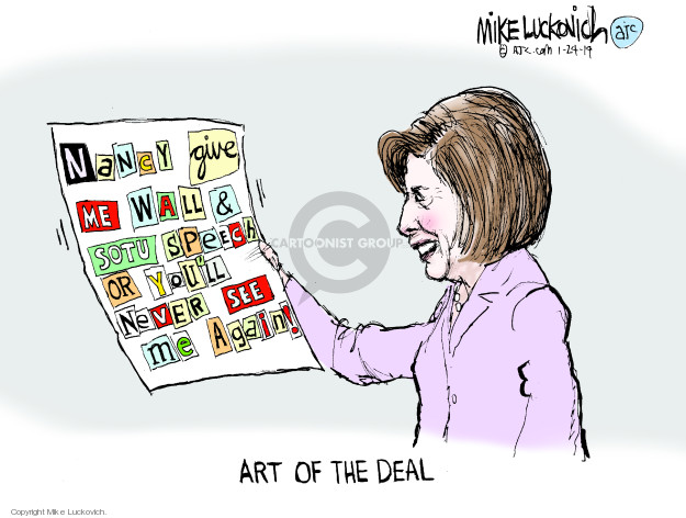 Cartoonist Mike Luckovich  Mike Luckovich's Editorial Cartoons 2019-01-24 wall