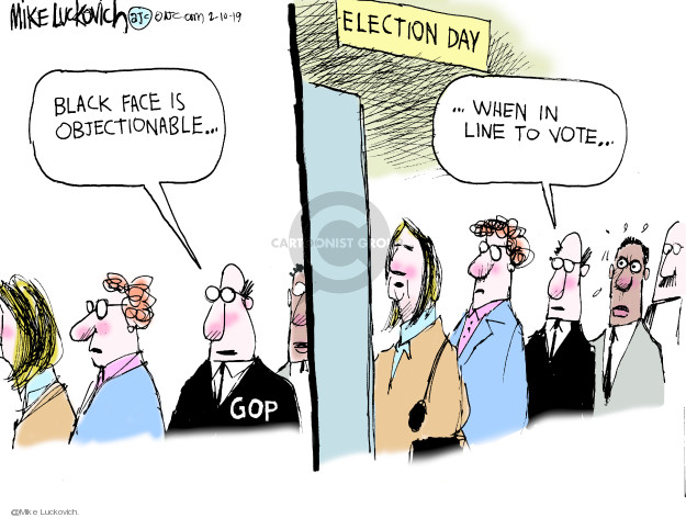 Election Day. Black face is objectionable … GOP … when in line to vote …