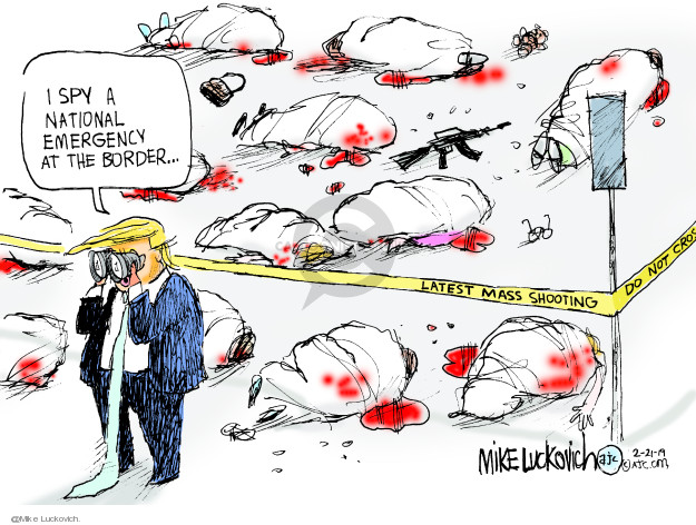 Cartoonist Mike Luckovich  Mike Luckovich's Editorial Cartoons 2019-02-21 gun