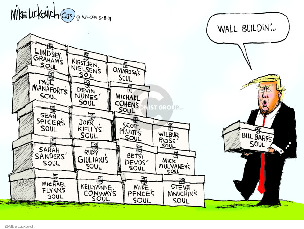 Cartoonist Mike Luckovich  Mike Luckovich's Editorial Cartoons 2019-05-05 wall