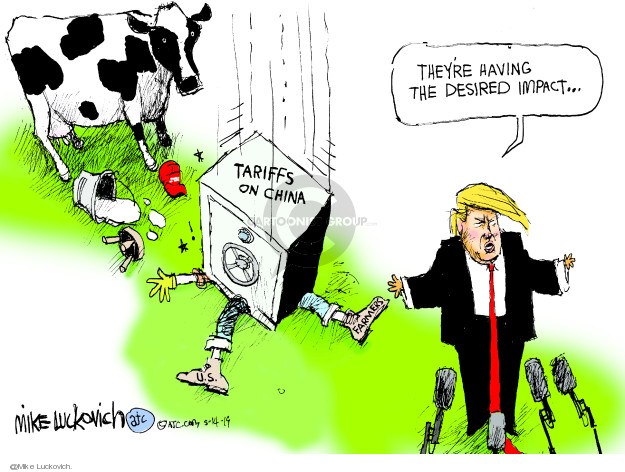 Mike Luckovich  Mike Luckovich's Editorial Cartoons 2019-05-14 Donald Trump farmer