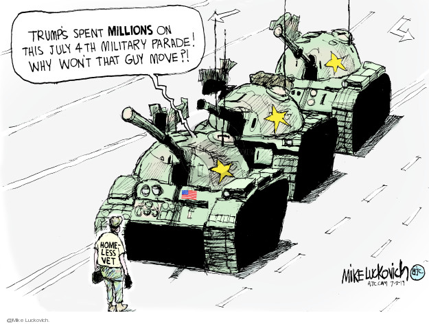 Cartoonist Mike Luckovich  Mike Luckovich's Editorial Cartoons 2019-07-03 military spending
