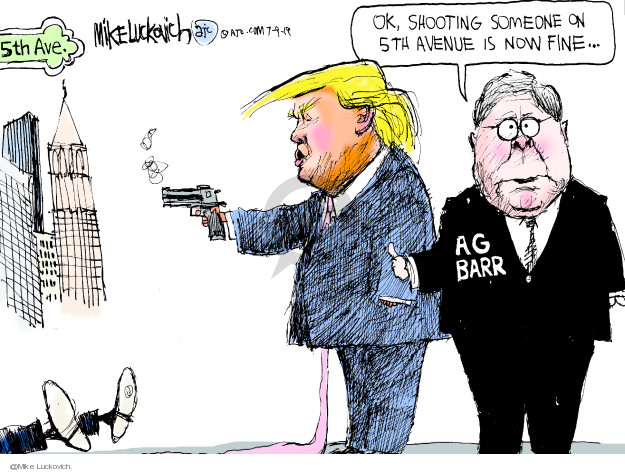 Cartoonist Mike Luckovich  Mike Luckovich's Editorial Cartoons 2019-07-09 gun