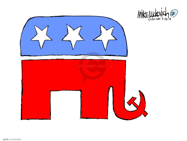 No caption (The iconic elephant symbol representing the Republican party has a Russian hammer and sickle for a trunk).