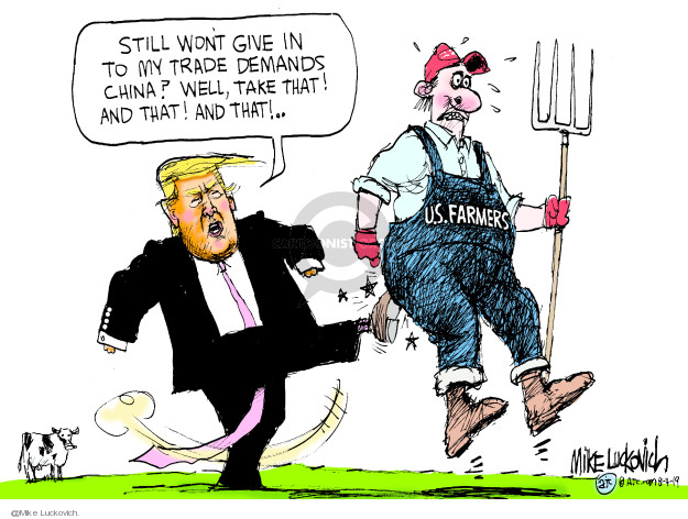 Mike Luckovich  Mike Luckovich's Editorial Cartoons 2019-08-04 Donald Trump farmer