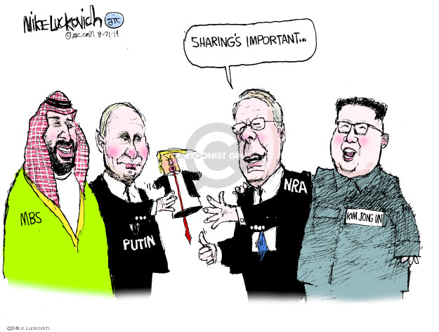 Cartoonist Mike Luckovich  Mike Luckovich's Editorial Cartoons 2019-08-21 gun