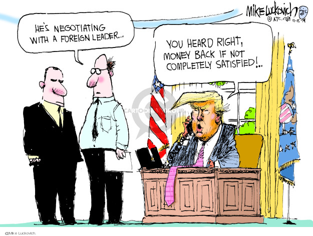 Cartoonist Mike Luckovich  Mike Luckovich's Editorial Cartoons 2019-11-15 presidential security