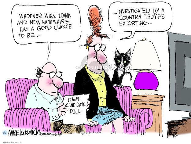 Cartoonist Mike Luckovich  Mike Luckovich's Editorial Cartoons 2019-11-20 presidential security