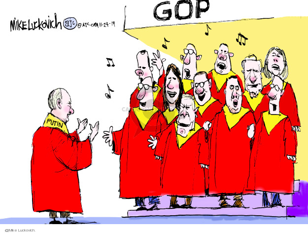 Cartoonist Mike Luckovich  Mike Luckovich's Editorial Cartoons 2019-11-24 interference