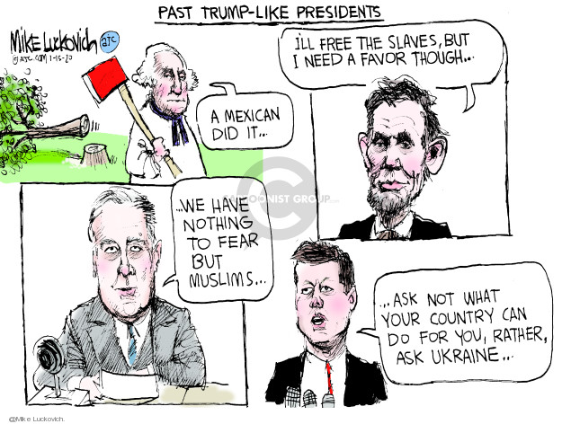 Cartoonist Mike Luckovich  Mike Luckovich's Editorial Cartoons 2020-01-15 Abraham Lincoln