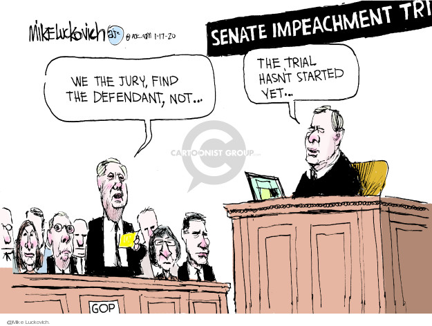 Cartoonist Mike Luckovich  Mike Luckovich's Editorial Cartoons 2020-01-17 impeach