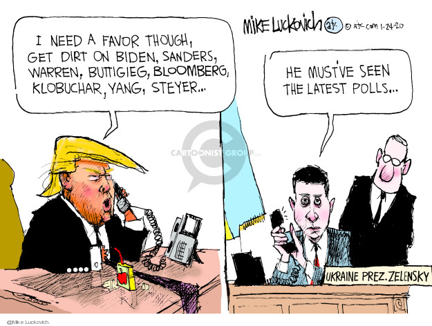 Cartoonist Mike Luckovich  Mike Luckovich's Editorial Cartoons 2020-01-24 international politics