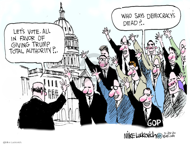 Cartoonist Mike Luckovich  Mike Luckovich's Editorial Cartoons 2020-02-23 president